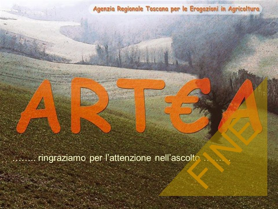 ARTA Organismo pagatore Agenzia Regionale Toscana per le Erogazioni in Agricoltura 28 ARTEA - 2005 …….. ringraziamo per lattenzione nellascolto ……… FI