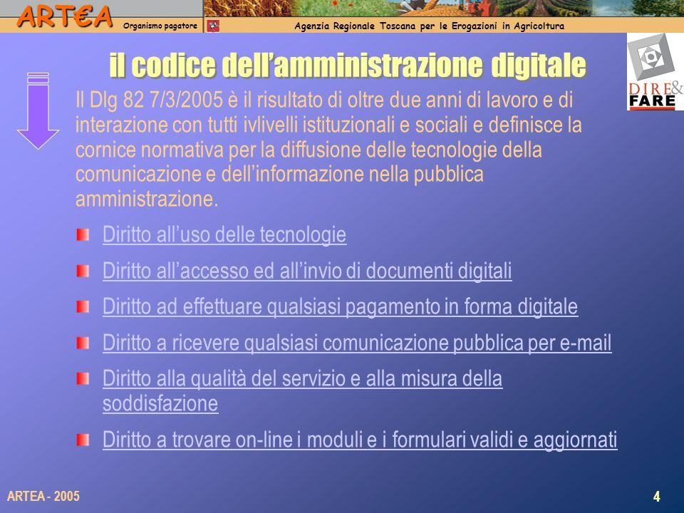 ARTA Organismo pagatore Agenzia Regionale Toscana per le Erogazioni in Agricoltura 4 ARTEA - 2005 il codice dellamministrazione digitale Il Dlg 82 7/3