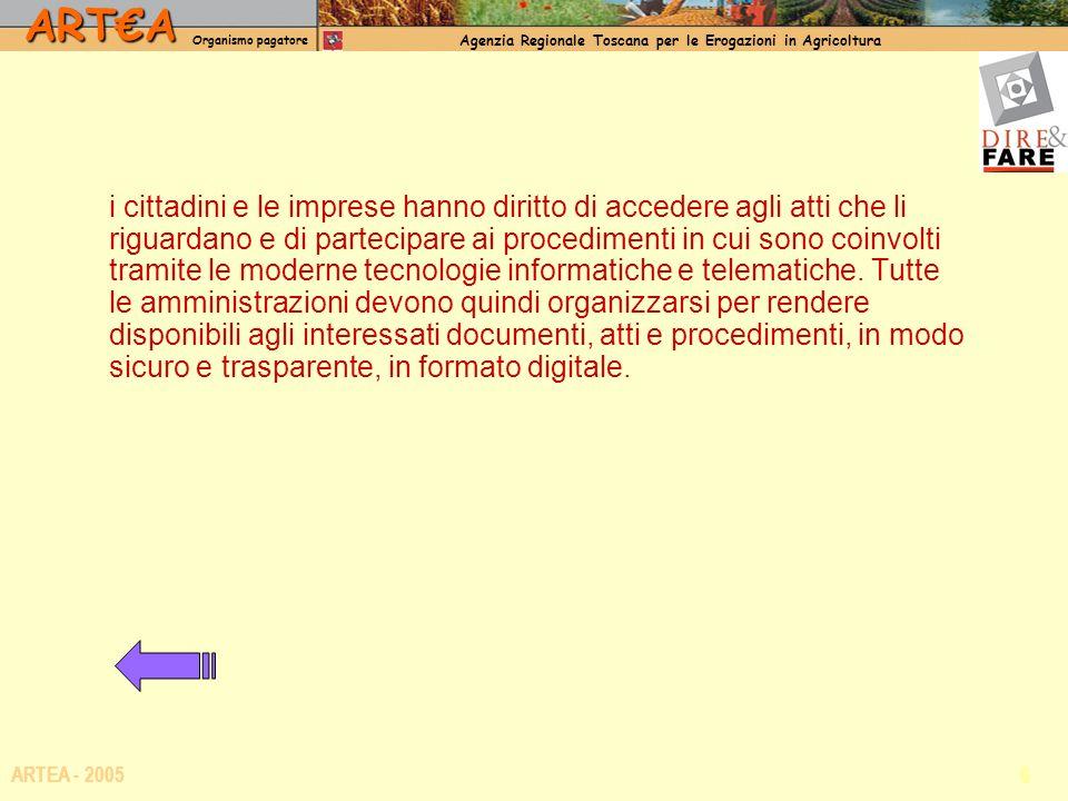 ARTA Organismo pagatore Agenzia Regionale Toscana per le Erogazioni in Agricoltura 6 ARTEA - 2005 i cittadini e le imprese hanno diritto di accedere agli atti che li riguardano e di partecipare ai procedimenti in cui sono coinvolti tramite le moderne tecnologie informatiche e telematiche.
