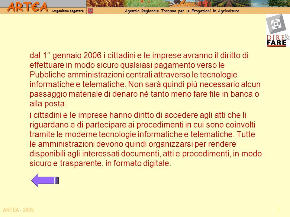 ARTA Organismo pagatore Agenzia Regionale Toscana per le Erogazioni in Agricoltura 7 ARTEA - 2005 dal 1° gennaio 2006 i cittadini e le imprese avranno il diritto di effettuare in modo sicuro qualsiasi pagamento verso le Pubbliche amministrazioni centrali attraverso le tecnologie informatiche e telematiche.
