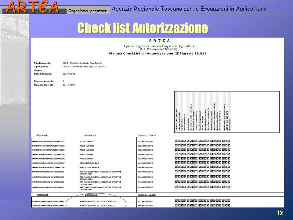 Organismo pagatoreARTA Agenzia Regionale Toscana per le Erogazioni in Agricoltura Check list Autorizzazione 12
