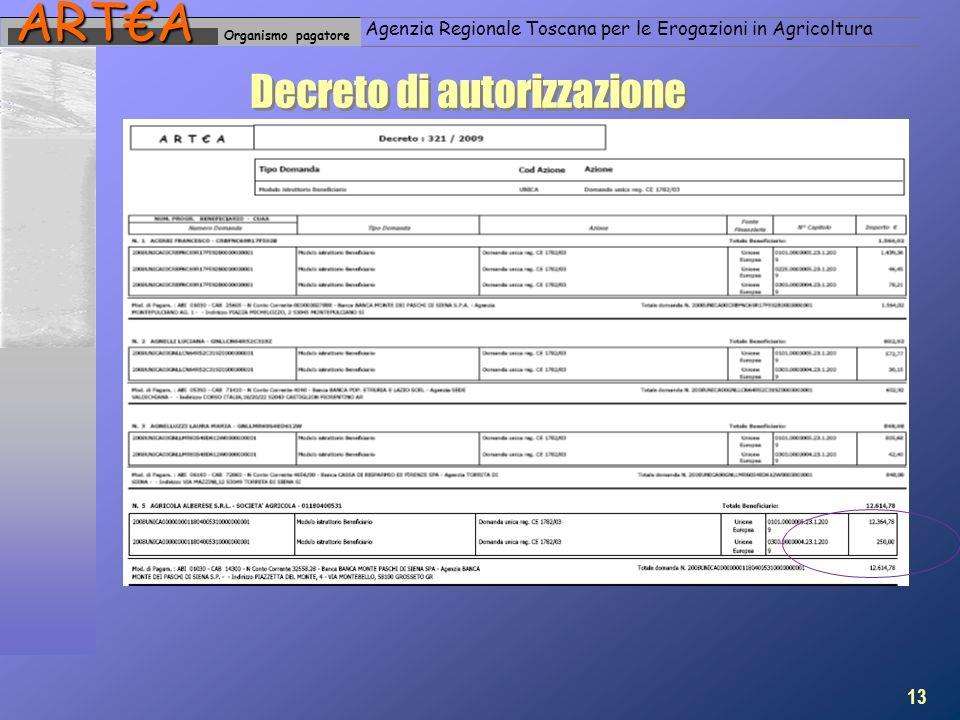 Organismo pagatoreARTA Agenzia Regionale Toscana per le Erogazioni in Agricoltura Decreto di autorizzazione 13