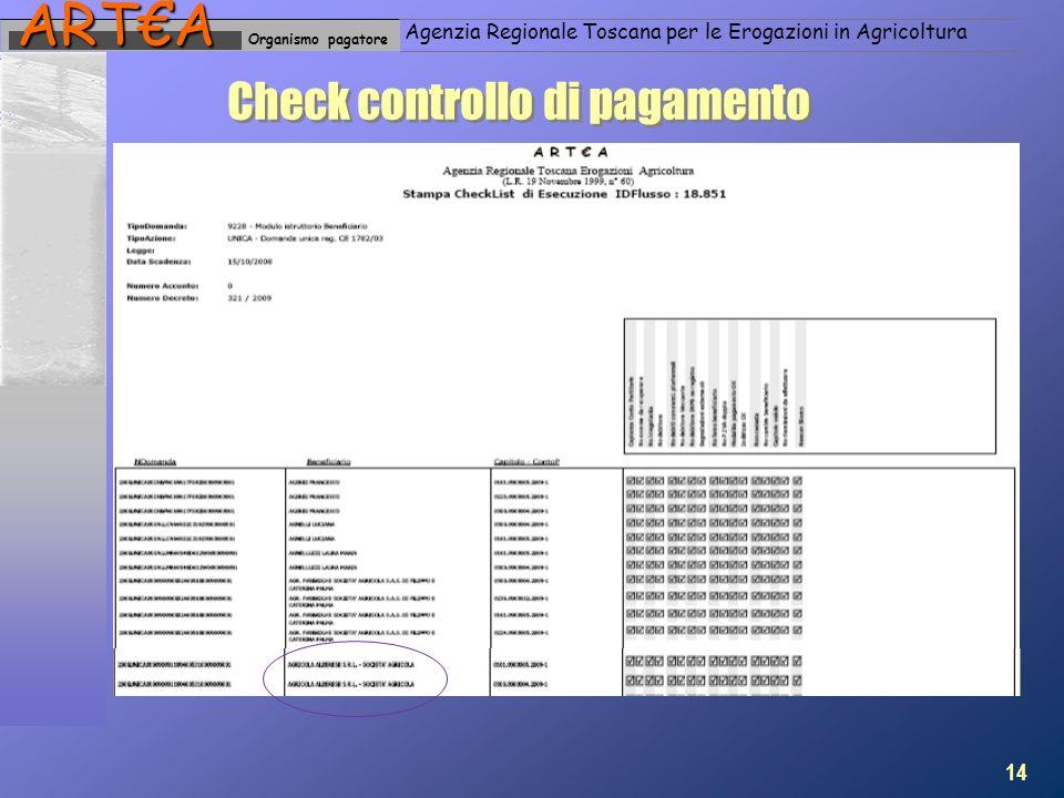 Organismo pagatoreARTA Agenzia Regionale Toscana per le Erogazioni in Agricoltura Check controllo di pagamento 14