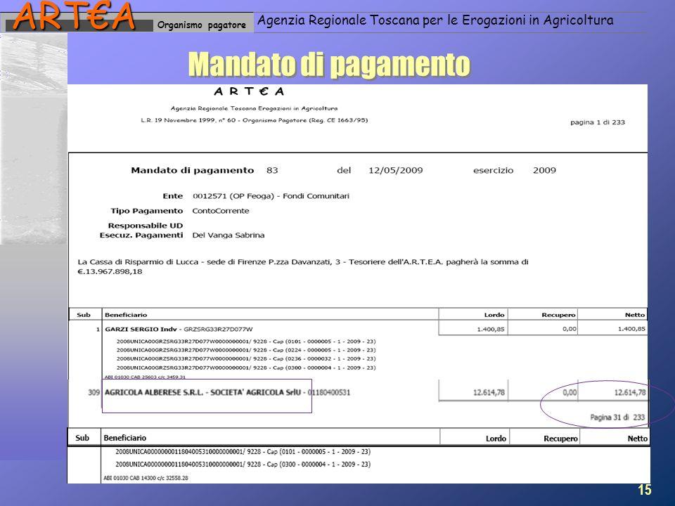 Organismo pagatoreARTA Agenzia Regionale Toscana per le Erogazioni in Agricoltura Mandato di pagamento 15