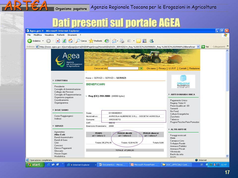 Organismo pagatoreARTA Agenzia Regionale Toscana per le Erogazioni in Agricoltura Dati presenti sul portale AGEA 17