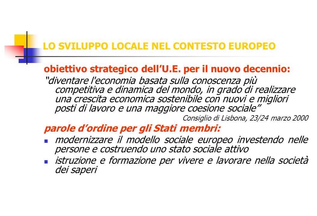 LO SVILUPPO LOCALE NEL CONTESTO EUROPEO obiettivo strategico dellU.E. per il nuovo decennio: diventare l'economia basata sulla conoscenza più competit