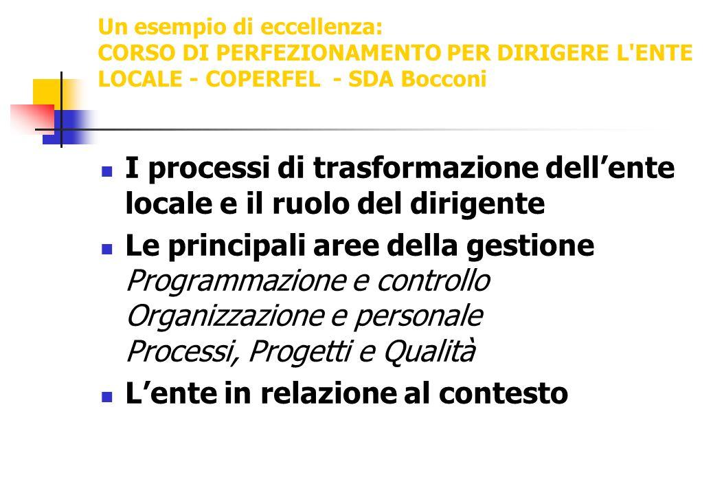 Un esempio di eccellenza: CORSO DI PERFEZIONAMENTO PER DIRIGERE L'ENTE LOCALE - COPERFEL - SDA Bocconi I processi di trasformazione dellente locale e