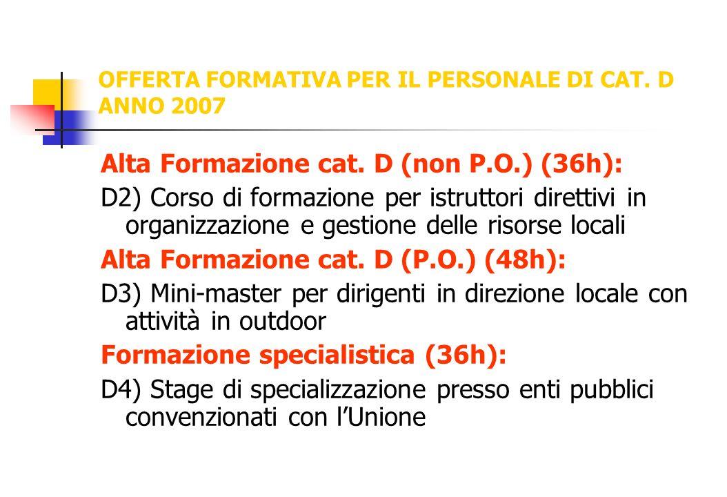 OFFERTA FORMATIVA PER IL PERSONALE DI CAT. D ANNO 2007 Alta Formazione cat. D (non P.O.) (36h): D2) Corso di formazione per istruttori direttivi in or