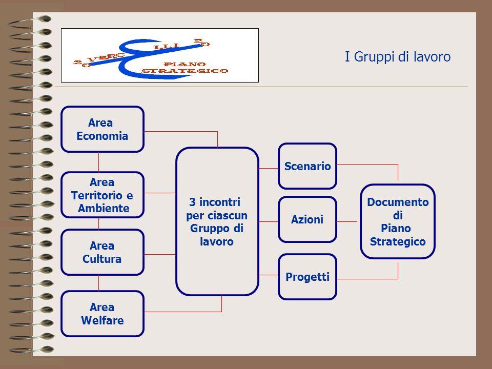I Gruppi di lavoro Area Welfare Area Cultura Area Territorio e Ambiente Area Economia 3 incontri per ciascun Gruppo di lavoro Scenario Azioni Progetti Documento di Piano Strategico