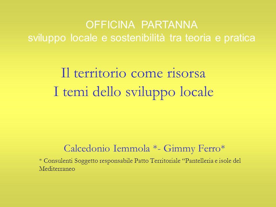 Il territorio come risorsa I temi dello sviluppo locale Calcedonio Iemmola *- Gimmy Ferro* * Consulenti Soggetto responsabile Patto Territoriale Pante