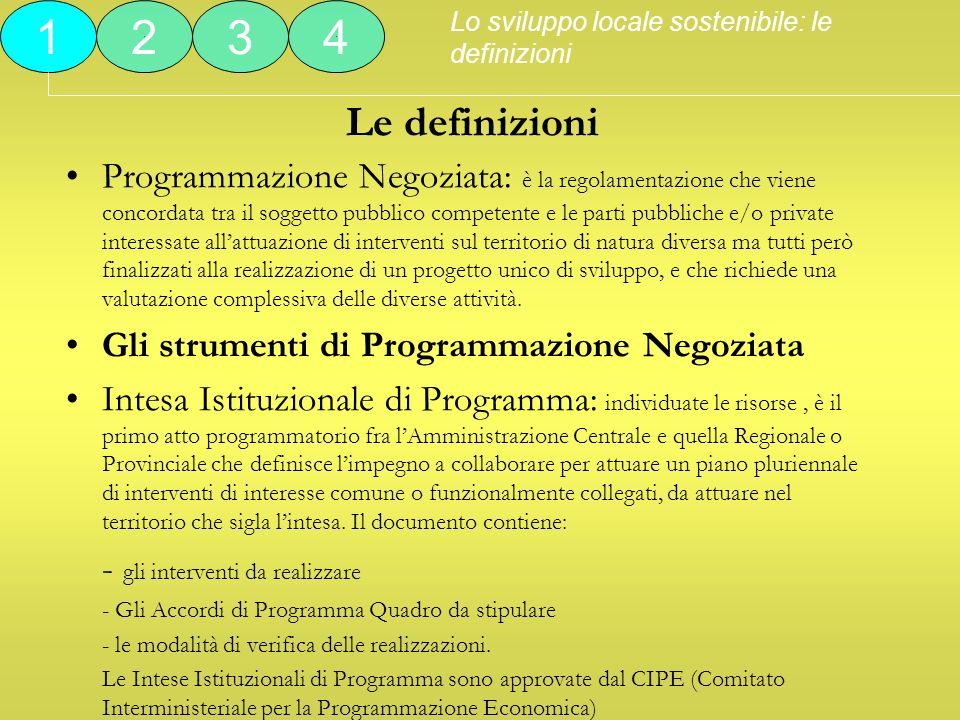 Le definizioni Programmazione Negoziata: è la regolamentazione che viene concordata tra il soggetto pubblico competente e le parti pubbliche e/o priva