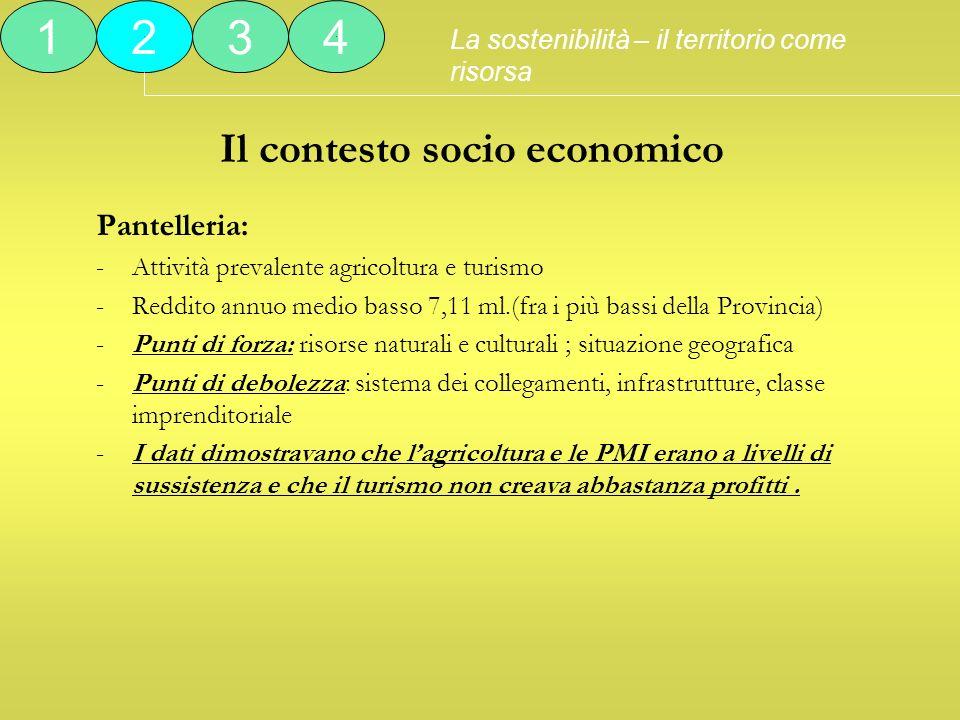 Il contesto socio economico Pantelleria: -Attività prevalente agricoltura e turismo -Reddito annuo medio basso 7,11 ml.(fra i più bassi della Provinci
