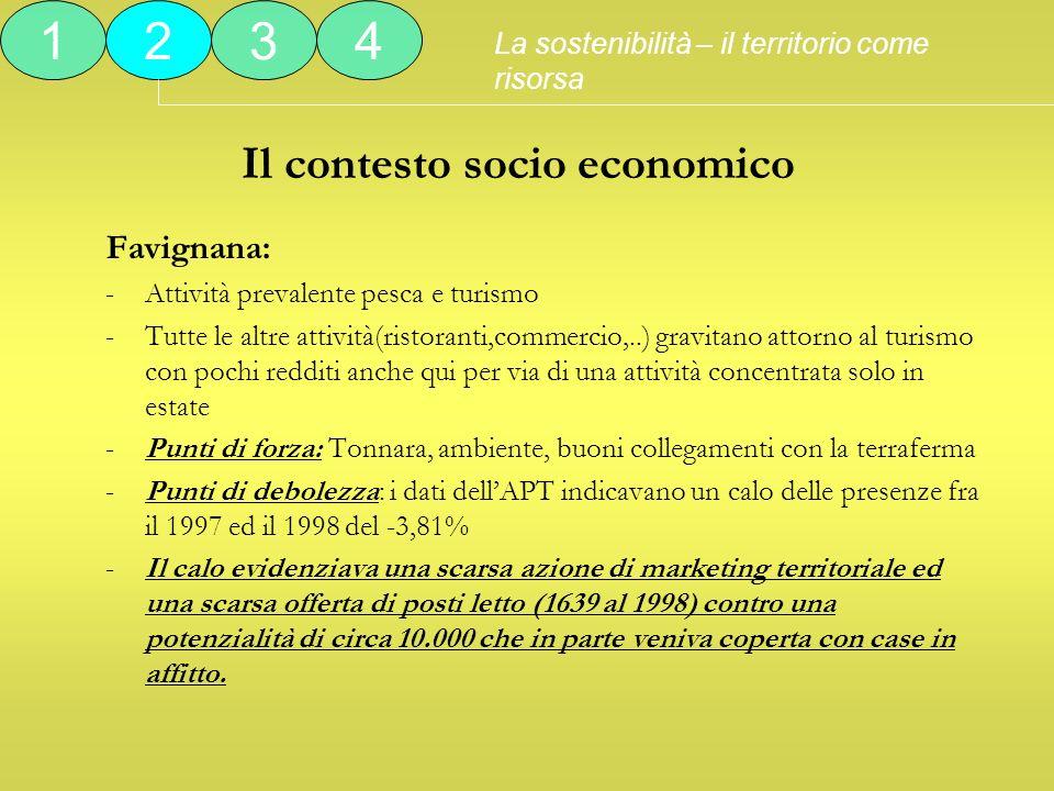 Il contesto socio economico Favignana: -Attività prevalente pesca e turismo -Tutte le altre attività(ristoranti,commercio,..) gravitano attorno al tur