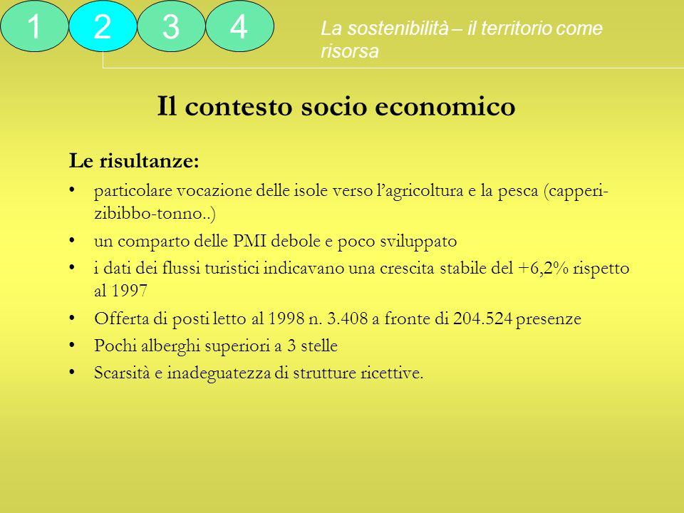 Il contesto socio economico Le risultanze: particolare vocazione delle isole verso lagricoltura e la pesca (capperi- zibibbo-tonno..) un comparto dell