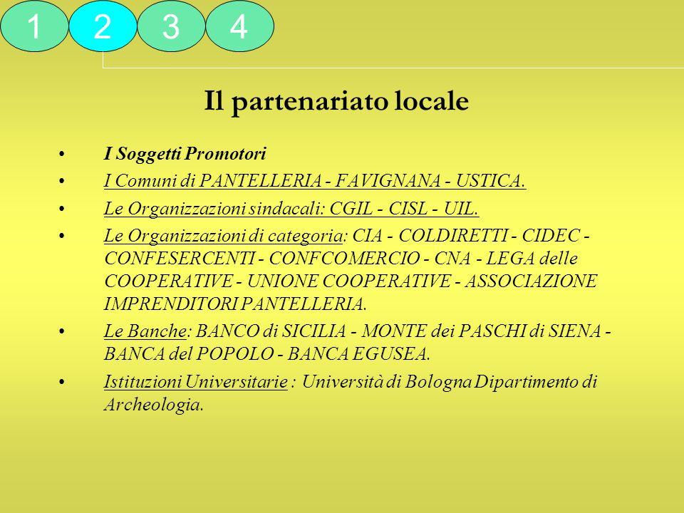 Il partenariato locale I Soggetti Promotori I Comuni di PANTELLERIA - FAVIGNANA - USTICA. Le Organizzazioni sindacali: CGIL - CISL - UIL. Le Organizza