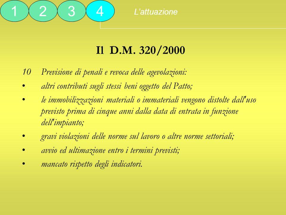 Il D.M. 320/2000 10Previsione di penali e revoca delle agevolazioni: altri contributi sugli stessi beni oggetto del Patto; le immobilizzazioni materia