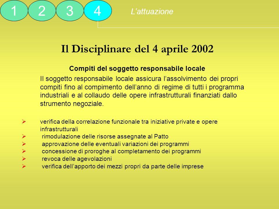 Il Disciplinare del 4 aprile 2002 Compiti del soggetto responsabile locale Il soggetto responsabile locale assicura lassolvimento dei propri compiti f