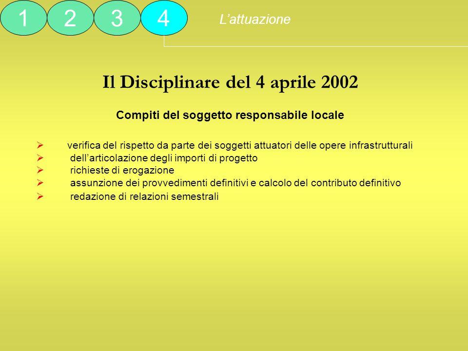 Il Disciplinare del 4 aprile 2002 Compiti del soggetto responsabile locale verifica del rispetto da parte dei soggetti attuatori delle opere infrastru