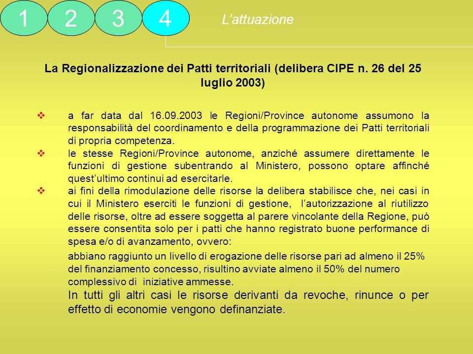 La Regionalizzazione dei Patti territoriali (delibera CIPE n. 26 del 25 luglio 2003) a far data dal 16.09.2003 le Regioni/Province autonome assumono l