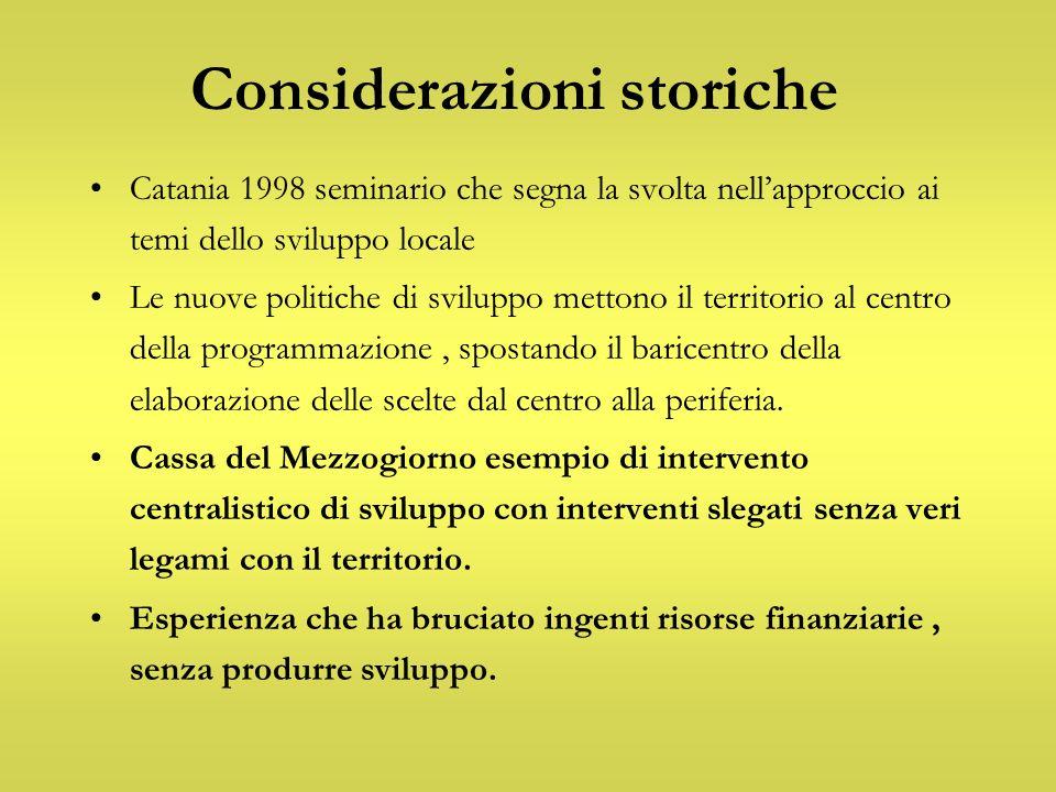 Considerazioni storiche Catania 1998 seminario che segna la svolta nellapproccio ai temi dello sviluppo locale Le nuove politiche di sviluppo mettono