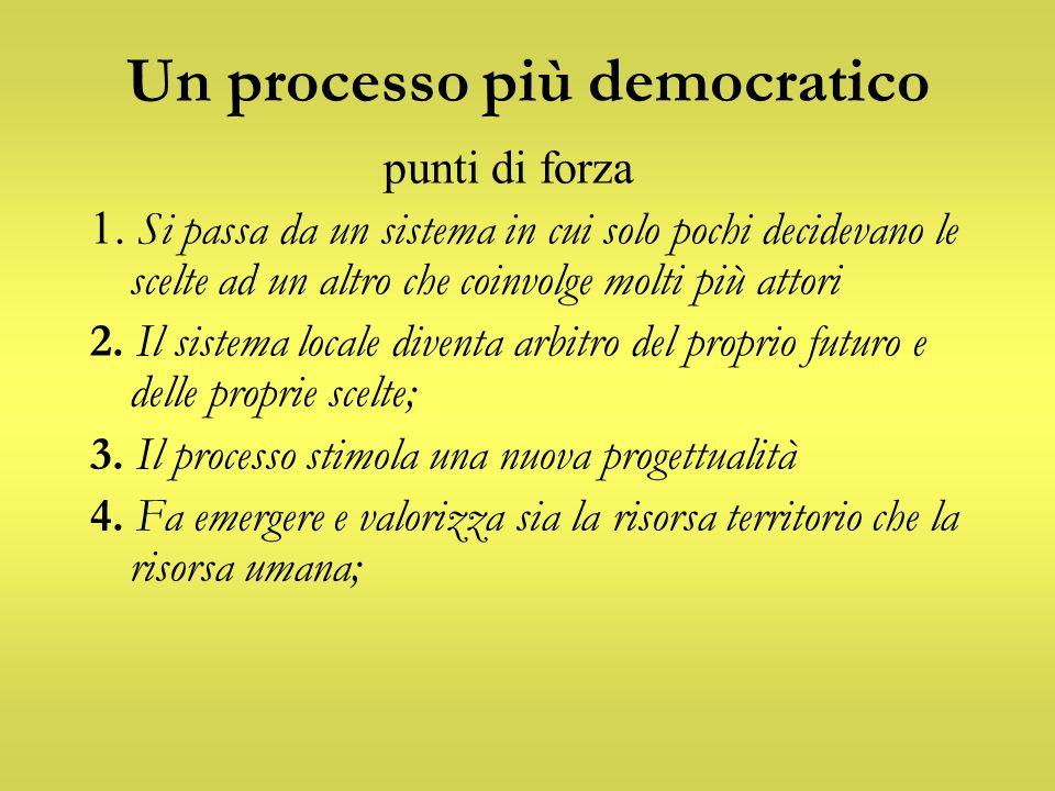 Un processo più democratico punti di forza 1. Si passa da un sistema in cui solo pochi decidevano le scelte ad un altro che coinvolge molti più attori