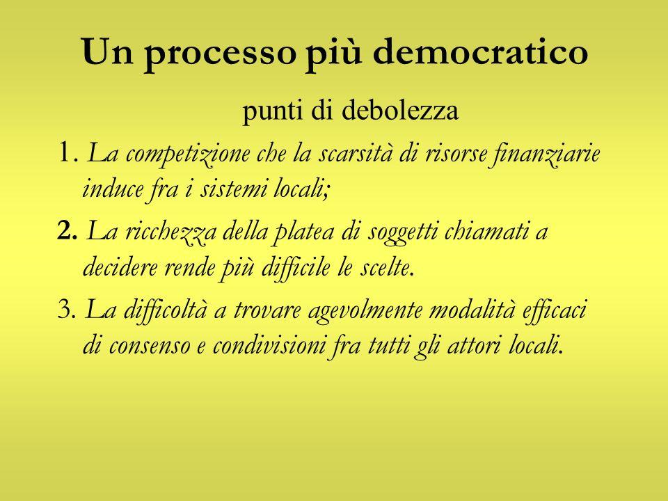 Un processo più democratico punti di debolezza 1. La competizione che la scarsità di risorse finanziarie induce fra i sistemi locali; 2. La ricchezza