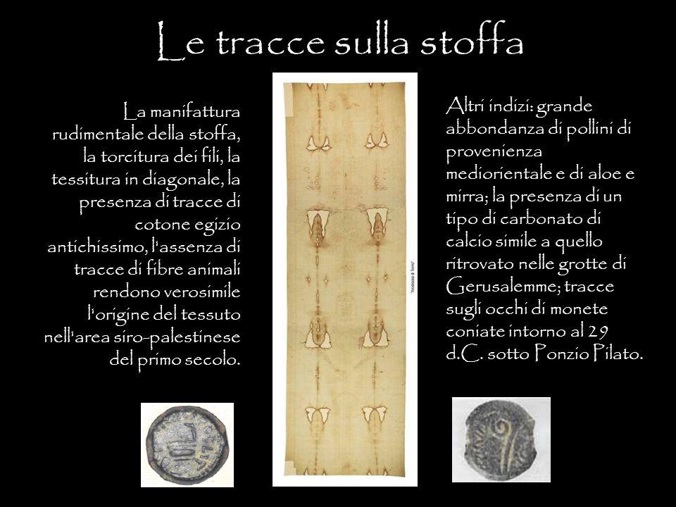 Le tracce sulla stoffa La manifattura rudimentale della stoffa, la torcitura dei fili, la tessitura in diagonale, la presenza di tracce di cotone egiz