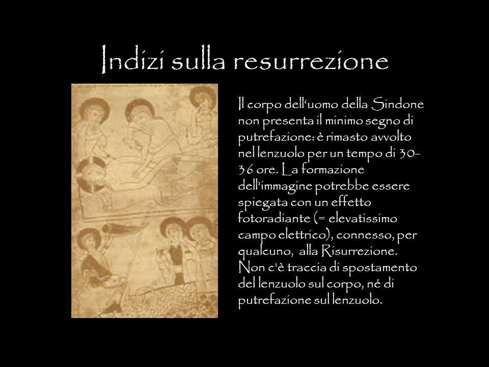 Indizi sulla resurrezione Il corpo delluomo della Sindone non presenta il minimo segno di putrefazione: è rimasto avvolto nel lenzuolo per un tempo di