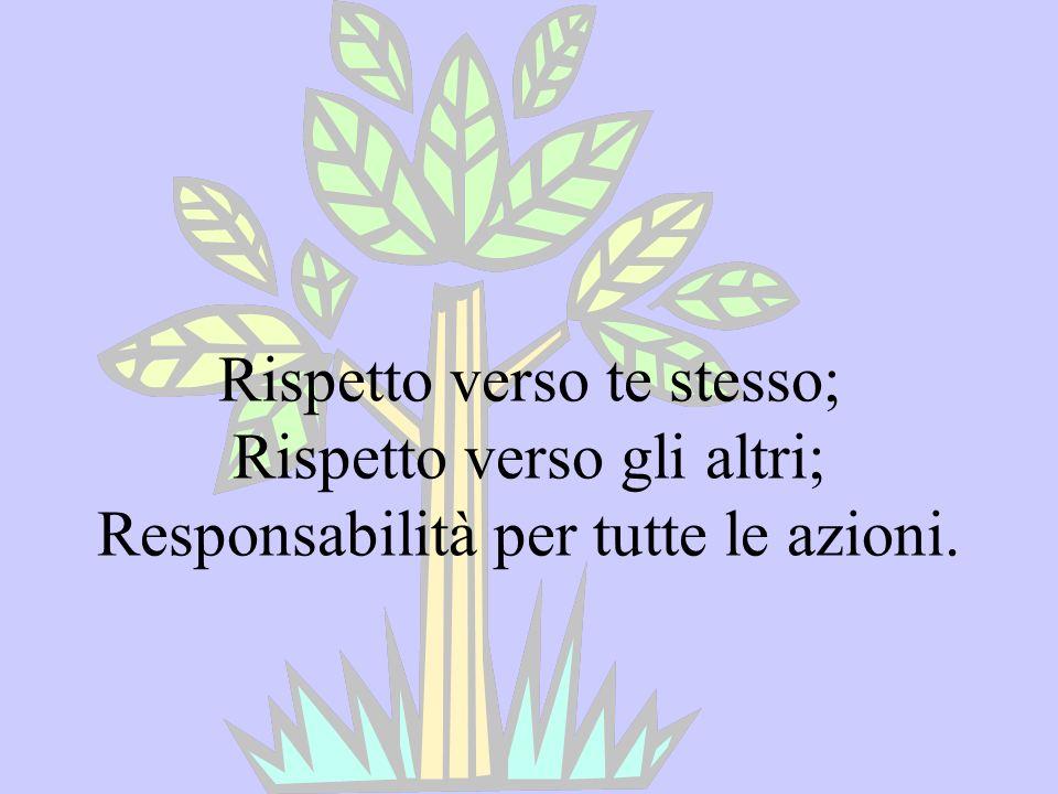 Rispetto verso te stesso; Rispetto verso gli altri; Responsabilità per tutte le azioni.