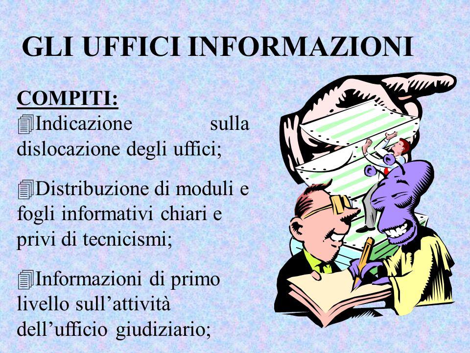 COMPITI: 4Indicazione sulla dislocazione degli uffici; GLI UFFICI INFORMAZIONI 4Distribuzione di moduli e fogli informativi chiari e privi di tecnicismi; 4Informazioni di primo livello sullattività dellufficio giudiziario;