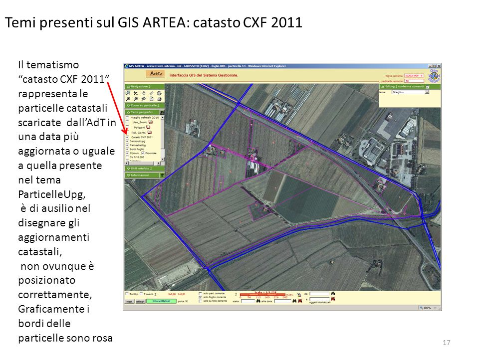 17 Temi presenti sul GIS ARTEA: catasto CXF 2011 Il tematismo catasto CXF 2011 rappresenta le particelle catastali scaricate dallAdT in una data più a