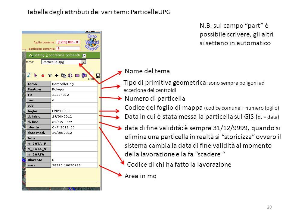 20 Tabella degli attributi dei vari temi: ParticelleUPG Nome del tema Tipo di primitiva geometrica : sono sempre poligoni ad eccezione dei centroidi Numero di particella Codice di chi ha fatto la lavorazione Data in cui è stata messa la particella sul GIS ( d.