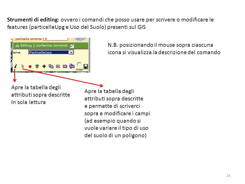 24 Strumenti di editing: ovvero i comandi che posso usare per scrivere o modificare le features (particelleUpg e Uso del Suolo) presenti sul GIS N.B.