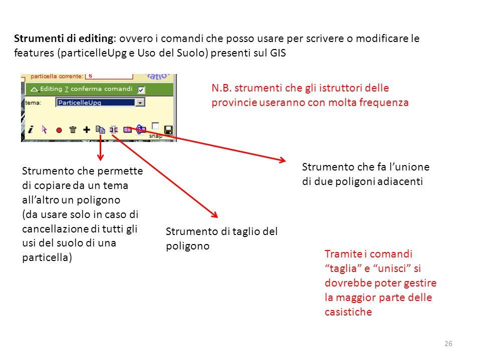 26 Strumenti di editing: ovvero i comandi che posso usare per scrivere o modificare le features (particelleUpg e Uso del Suolo) presenti sul GIS N.B.
