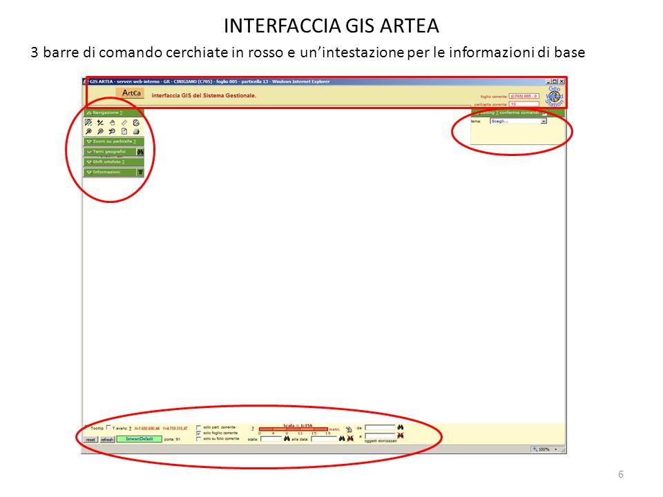 6 INTERFACCIA GIS ARTEA 3 barre di comando cerchiate in rosso e unintestazione per le informazioni di base