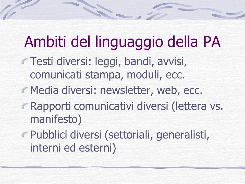 Ambiti del linguaggio della PA Testi diversi: leggi, bandi, avvisi, comunicati stampa, moduli, ecc. Media diversi: newsletter, web, ecc. Rapporti comu