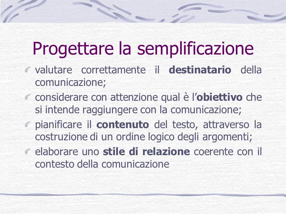 Progettare la semplificazione valutare correttamente il destinatario della comunicazione; considerare con attenzione qual è lobiettivo che si intende