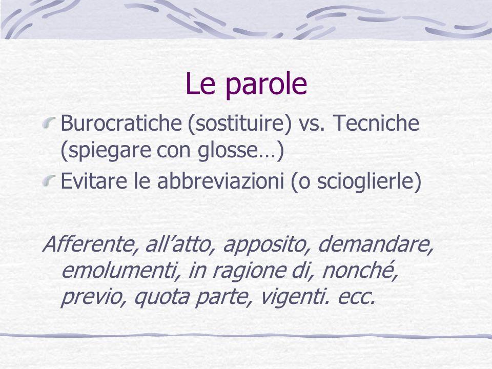 Le parole Burocratiche (sostituire) vs. Tecniche (spiegare con glosse…) Evitare le abbreviazioni (o scioglierle) Afferente, allatto, apposito, demanda
