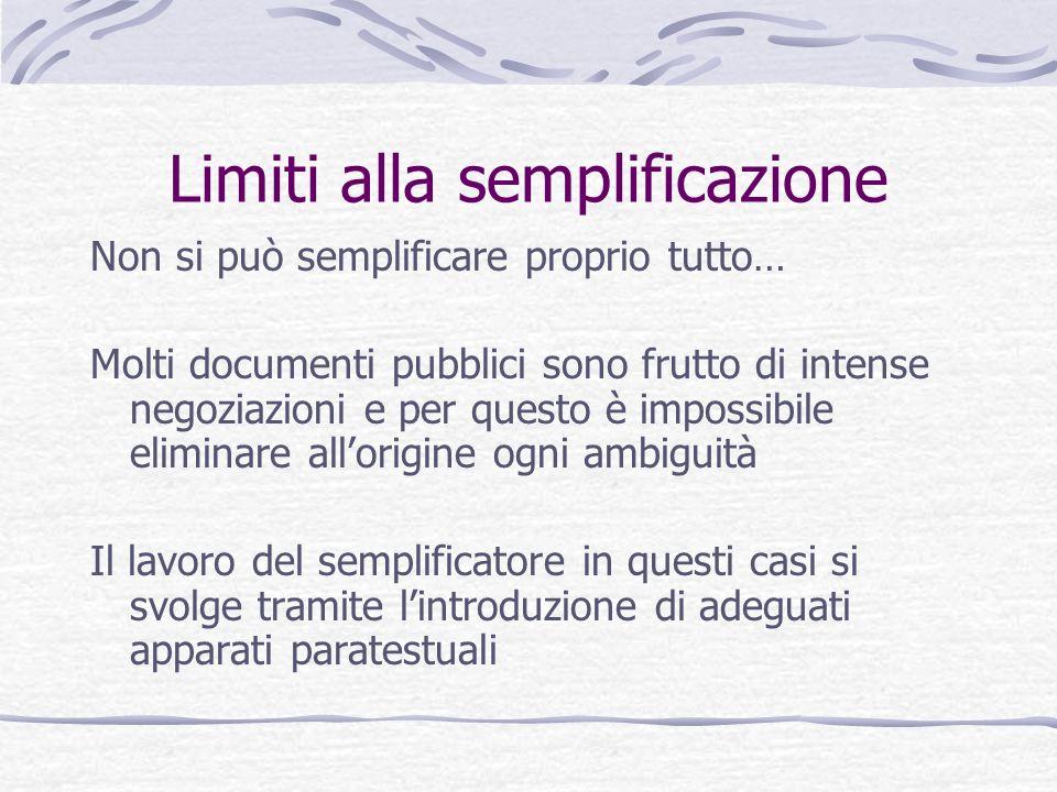 Limiti alla semplificazione Non si può semplificare proprio tutto… Molti documenti pubblici sono frutto di intense negoziazioni e per questo è impossi