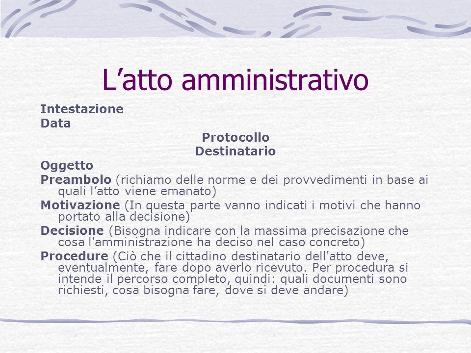 Latto amministrativo Intestazione Data Protocollo Destinatario Oggetto Preambolo (richiamo delle norme e dei provvedimenti in base ai quali latto vien
