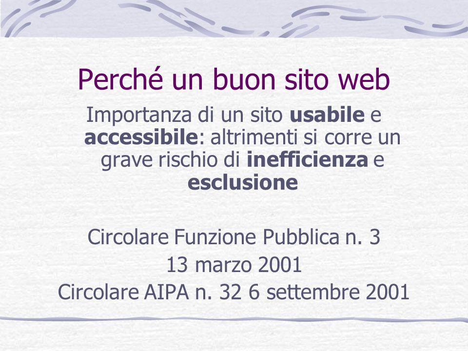 Perché un buon sito web Importanza di un sito usabile e accessibile: altrimenti si corre un grave rischio di inefficienza e esclusione Circolare Funzi