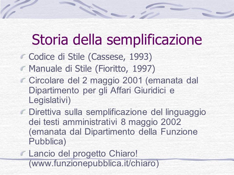 Storia della semplificazione Codice di Stile (Cassese, 1993) Manuale di Stile (Fioritto, 1997) Circolare del 2 maggio 2001 (emanata dal Dipartimento p