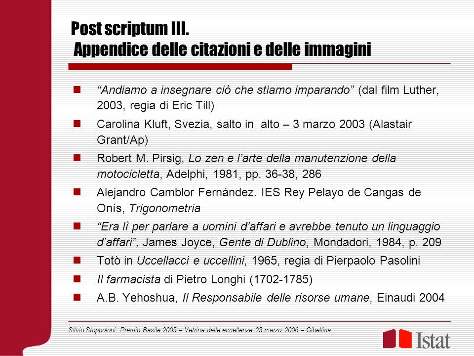 Silvio Stoppoloni, Premio Basile 2005 – Vetrina delle eccellenze 23 marzo 2006 – Gibellina Post scriptum III.