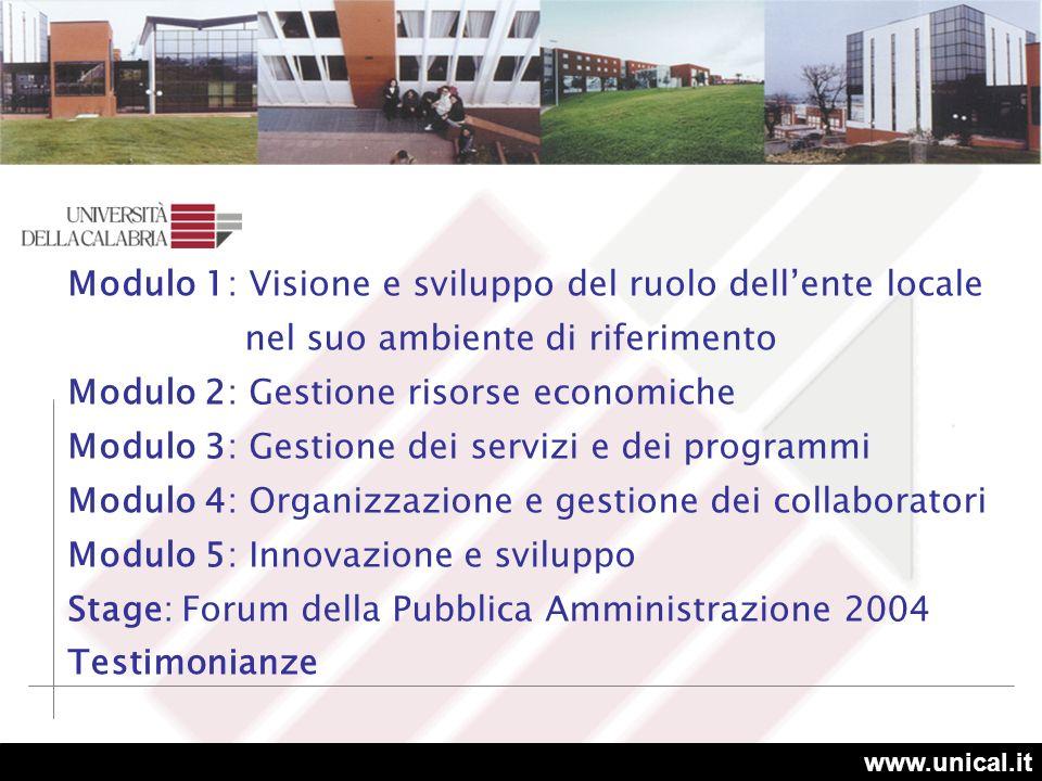 www.unical.it SEDI Cosenza 5 aule (122 partecipanti) Catanzaro 2 aule (53 partecipanti) DURATA 1600 ore PARTECIPANTI 250 Vibo Valentia 2 aule (50 partecipanti) Reggio Calabria 1 aula (25 partecipanti)