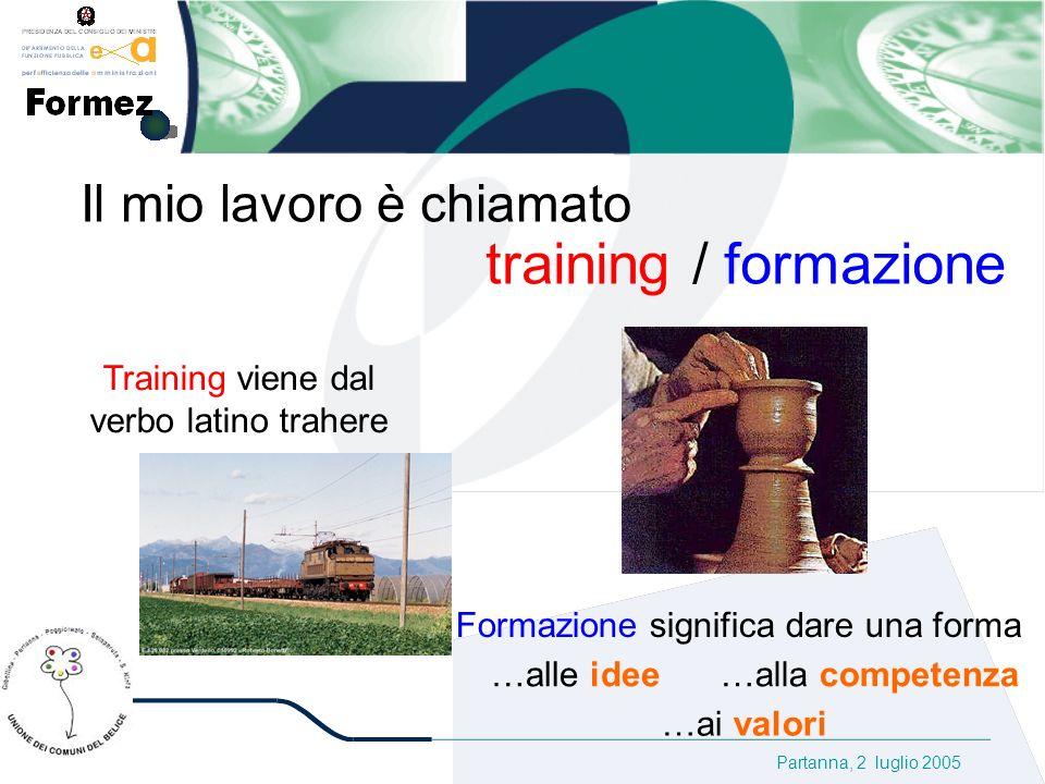 Partanna, 2 luglio 2005 Il mio lavoro è chiamato training / formazione Training viene dal verbo latino trahere Formazione significa dare una forma …alle idee …alla competenza …ai valori
