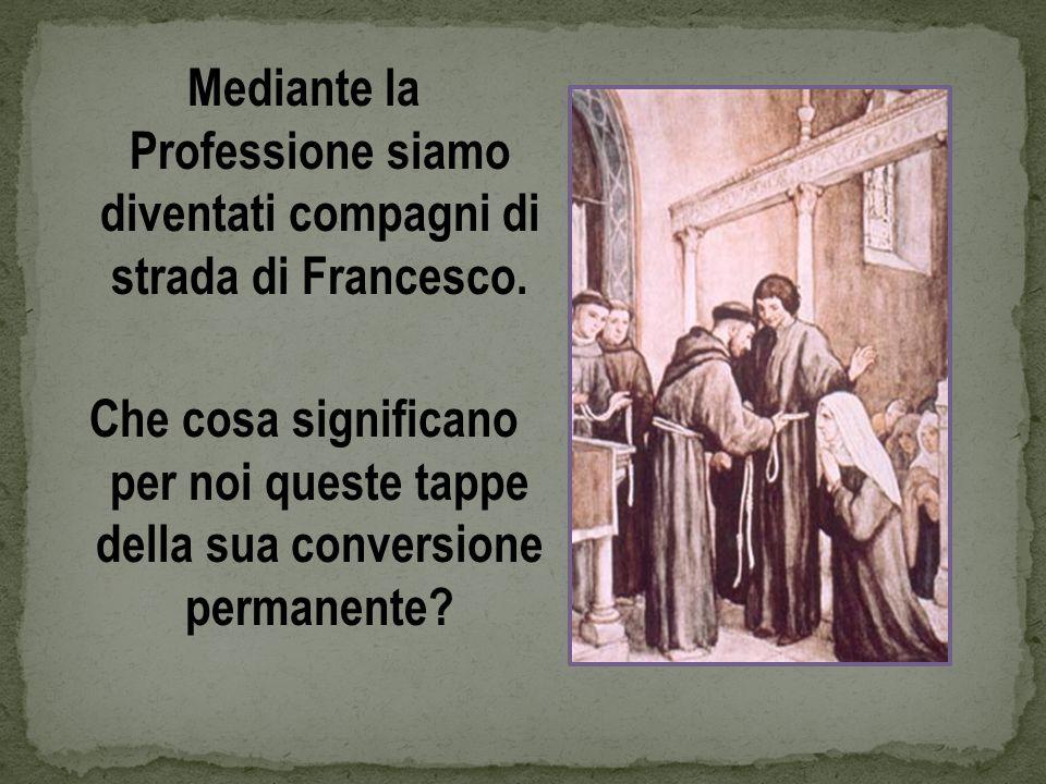 Mediante la Professione siamo diventati compagni di strada di Francesco. Che cosa significano per noi queste tappe della sua conversione permanente?
