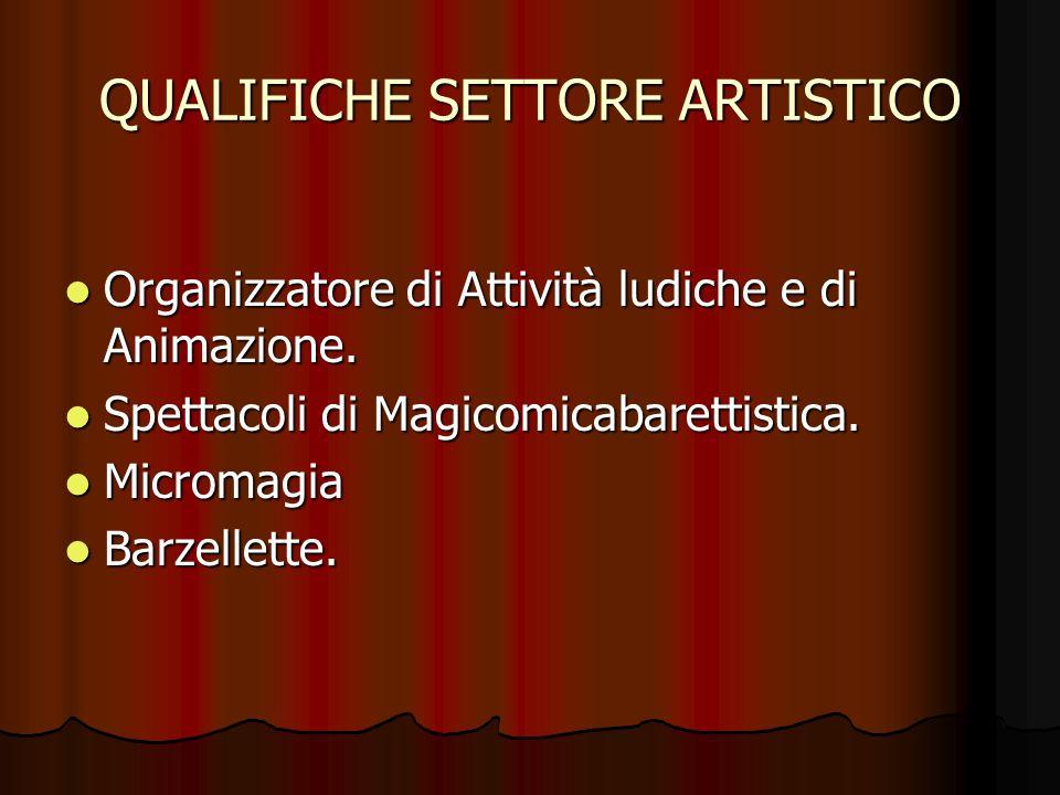 QUALIFICHE SETTORE ARTISTICO Organizzatore di Attività ludiche e di Animazione. Spettacoli di Magicomicabarettistica. Micromagia Barzellette.