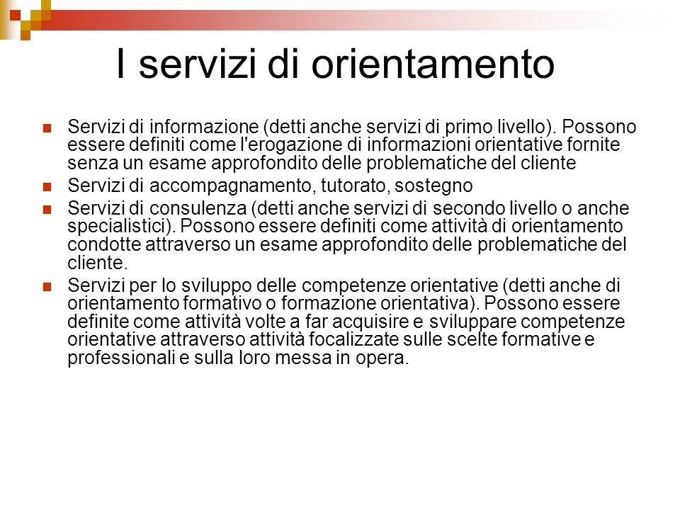 I servizi di orientamento Servizi di informazione (detti anche servizi di primo livello).