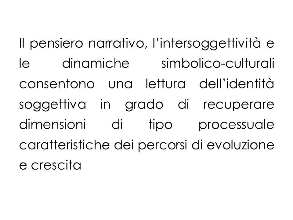 Il pensiero narrativo, lintersoggettività e le dinamiche simbolico-culturali consentono una lettura dellidentità soggettiva in grado di recuperare dimensioni di tipo processuale caratteristiche dei percorsi di evoluzione e crescita