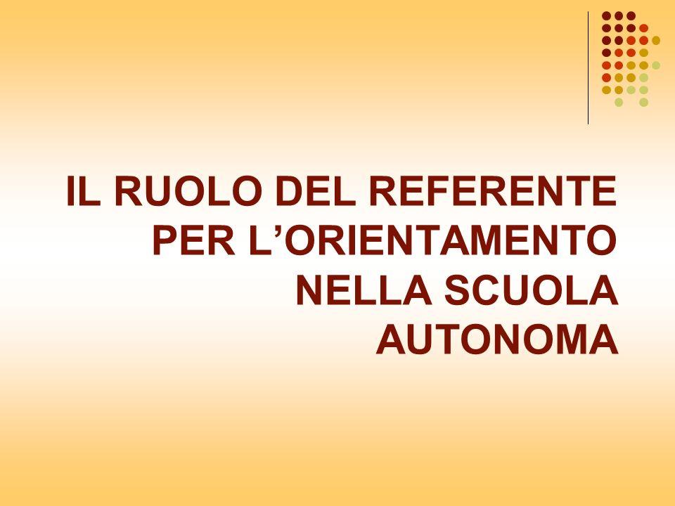 IL RUOLO DEL REFERENTE PER LORIENTAMENTO NELLA SCUOLA AUTONOMA